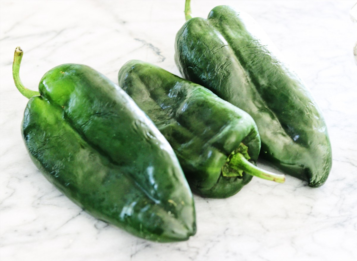 Poblano Peppers on cutting board