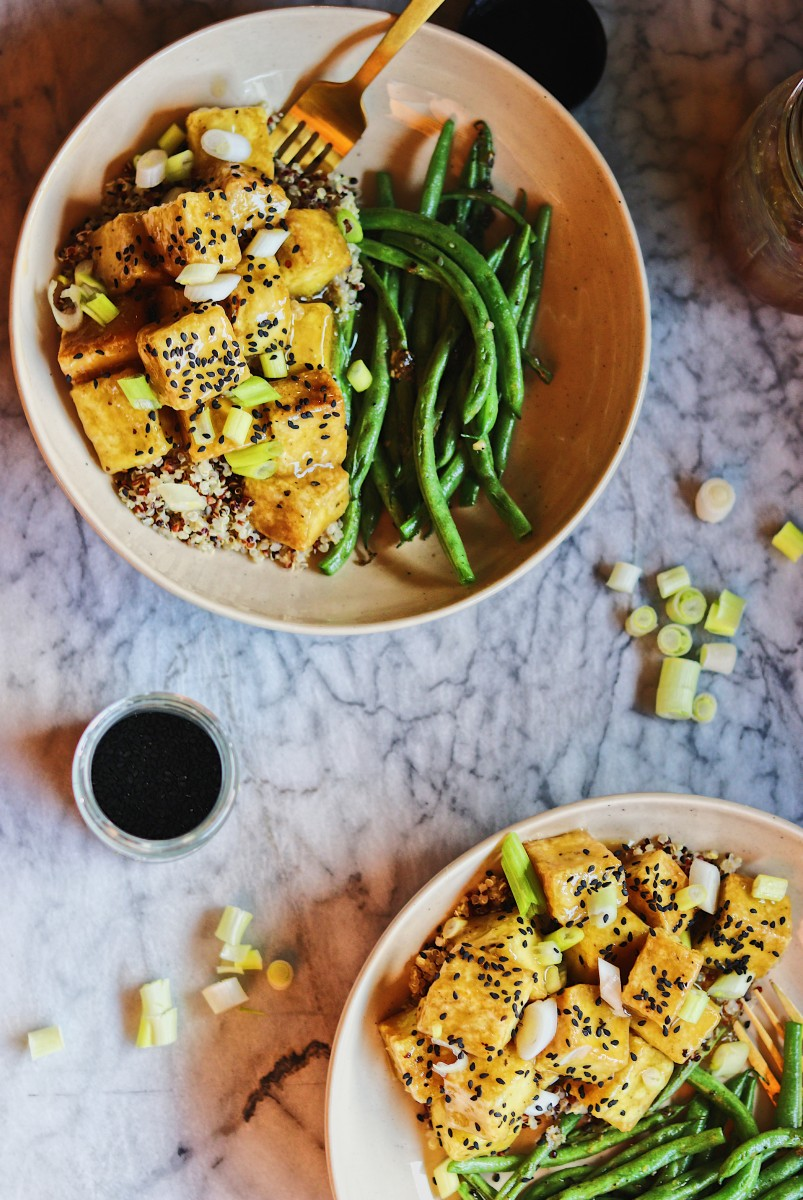 Orange Tofu overhead shot