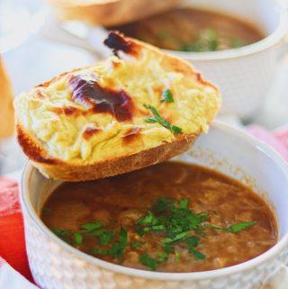 onion soup close up
