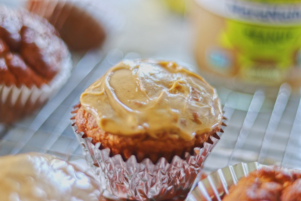 Muffin slathered with peanut butter